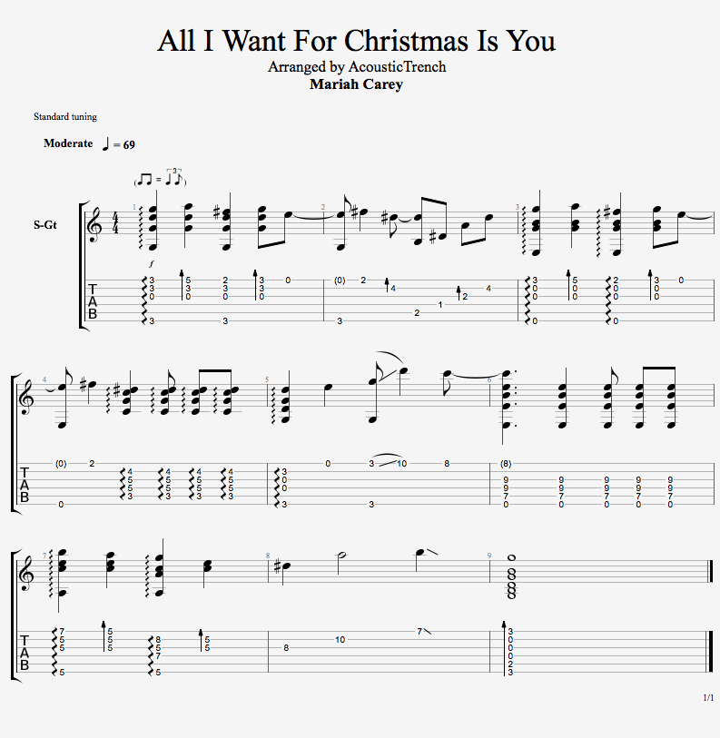 Christmas Guitar Tabs Fingerstyle.All I Want For Christmas
